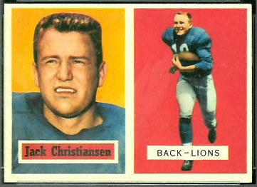 Jack Christiansen 1957 Topps football card