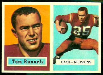 Tom Runnels 1957 Topps football card