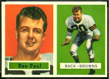 Don Paul 1957 Topps football card