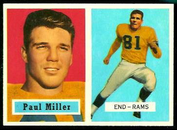 Paul Miller 1957 Topps football card