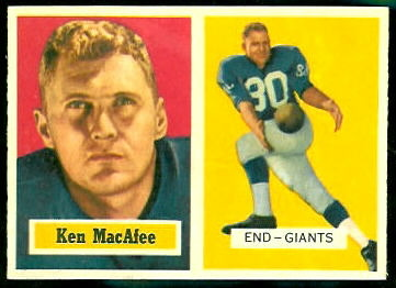 Ken MacAfee 1957 Topps football card