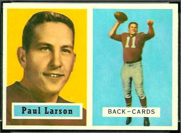 Paul Larson 1957 Topps football card