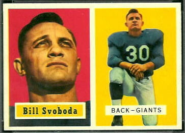 Bill Svoboda 1957 Topps football card