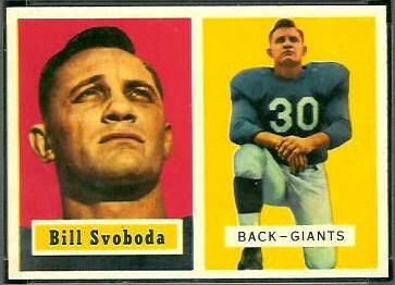 Bill Svoboda 1957 Topps football card