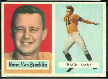 Norm Van Brocklin 1957 Topps football card