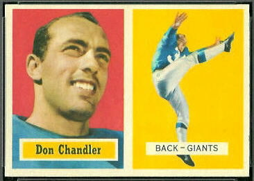 Don Chandler 1957 Topps football card