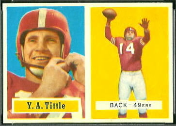 Y.A. Tittle 1957 Topps football card