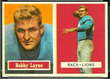 Bobby Layne 1957 Topps football card