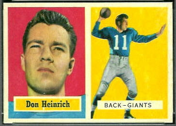 Don Heinrich 1957 Topps football card