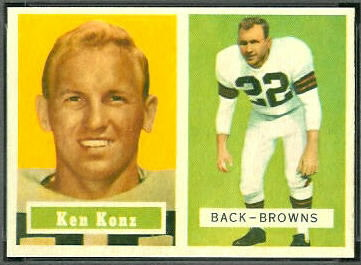 Ken Konz 1957 Topps football card
