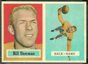 Will Sherman 1957 Topps football card