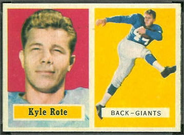 Kyle Rote 1957 Topps football card