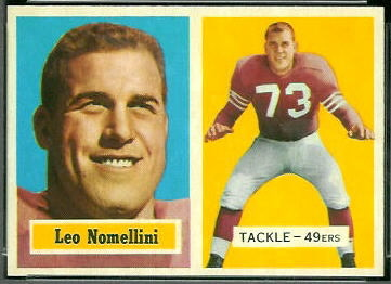 Leo Nomellini 1957 Topps football card