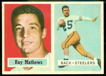 Ray Mathews 1957 Topps football card