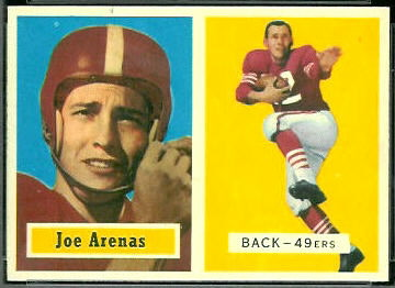 Joe Arenas 1957 Topps football card