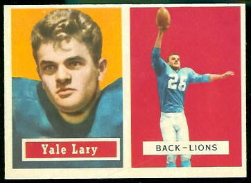 Yale Lary 1957 Topps football card