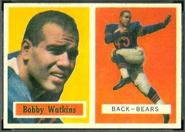 Bobby Watkins 1957 Topps football card