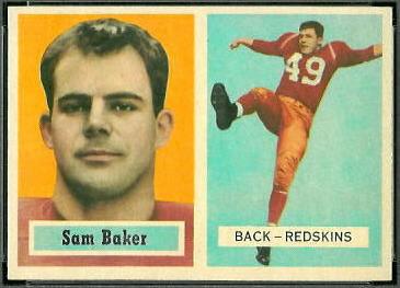 Sam Baker 1957 Topps football card