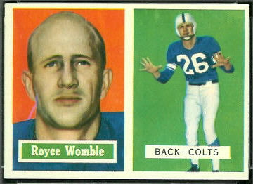 Royce Womble 1957 Topps football card