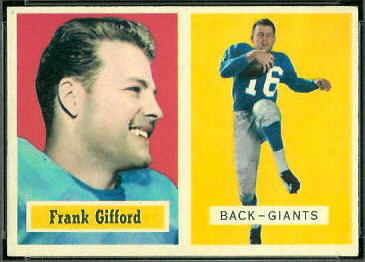 Frank Gifford 1957 Topps football card