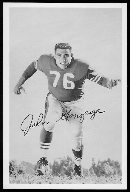 John Gonzaga 1958 49ers Team Issue football card