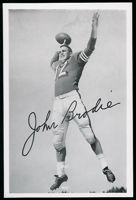 John Brodie 1958 49ers Team Issue football card