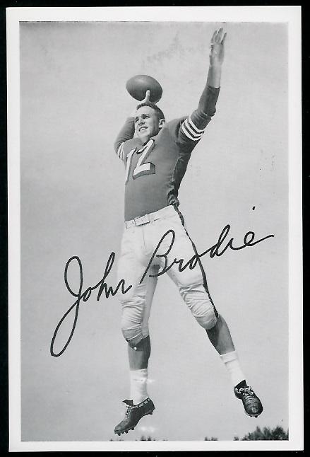 John Brodie 1958 49ers Team Issue football card