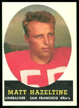 Matt Hazeltine 1958 Topps football card