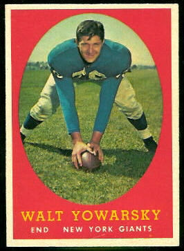 Walt Yowarsky 1958 Topps football card