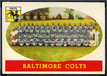 Baltimore Colts Team 1958 Topps football card