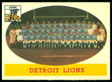 Detroit Lions Team 1958 Topps football card