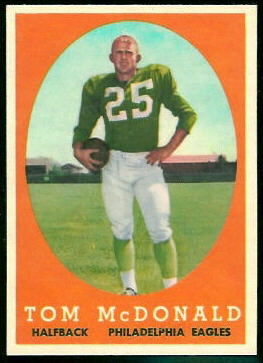 Tommy McDonald 1958 Topps football card