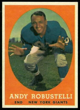Andy Robustelli 1958 Topps football card