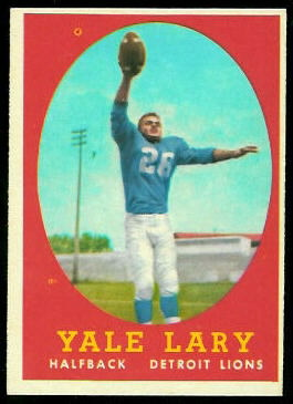 Yale Lary 1958 Topps football card