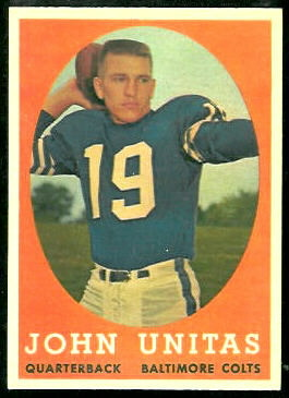 John Unitas 1958 Topps football card