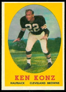 Ken Konz 1958 Topps football card