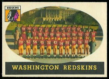 Washington Redskins Team 1958 Topps football card