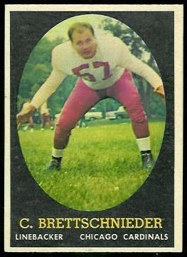 Carl Brettschneider 1958 Topps football card