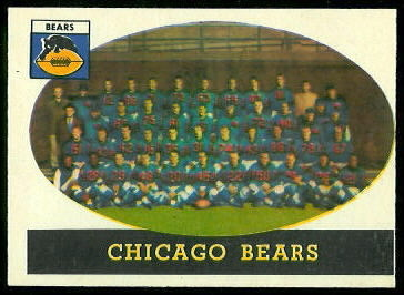 Chicago Bears Team 1958 Topps football card