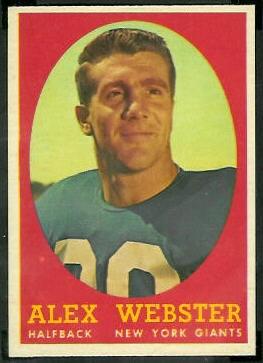 Alex Webster 1958 Topps football card