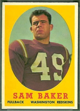 Sam Baker 1958 Topps football card