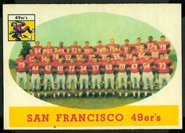 San Francisco 49ers Team 1958 Topps football card