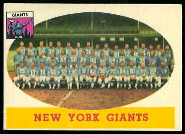 New York Giants Team 1958 Topps football card