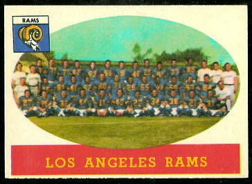 Los Angeles Rams Team 1958 Topps football card