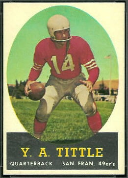Y.A. Tittle 1958 Topps football card