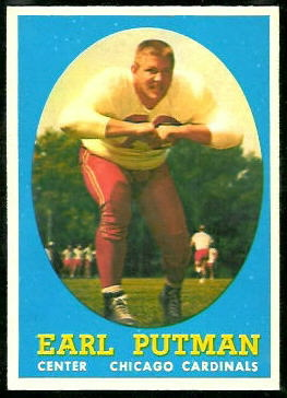 Earl Putman 1958 Topps football card