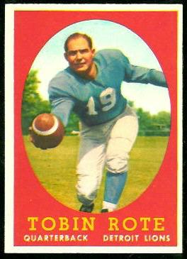 Tobin Rote 1958 Topps football card