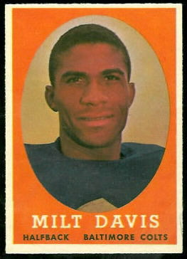 Milt Davis 1958 Topps football card