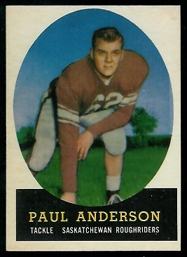 Paul Anderson 1958 Topps CFL football card