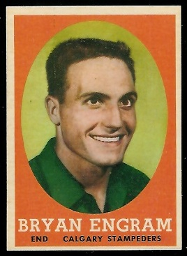 Bryan Engram 1958 Topps CFL football card